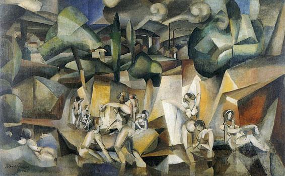 <em>Les Baigneuses</em>,1912<br /> Huile sur toile<br /> 105 x 171 cm<br /> Paris, musée d'Art moderne de la Ville