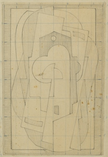 <em>Composition</em>, 1920<br /> Mine graphite sur papier mis au carreau au crayon bleu<br /> 48 x 31,5 cm<br /> Acquis en 1976 (inv. AM 1976-1040)