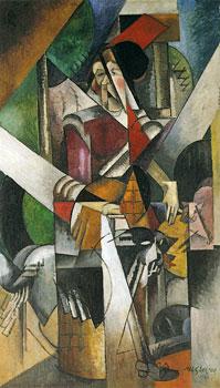 <em>La Dame aux bêtes (portrait de Mme Duchamp-Villon)</em>, 1914<br /> Huile sur toile<br /> 196,4 x 114,1 cm<br /> Acquis en 1940 (inv. 76.2553 PG17)