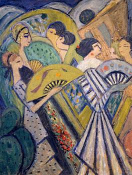 <em>Sur les Ramblas</em>, Barcelone, 1916<br /> Huile sur carton<br /> 67,5 x 51,7 cm<br /> Paris, Fondation Albert Gleizes