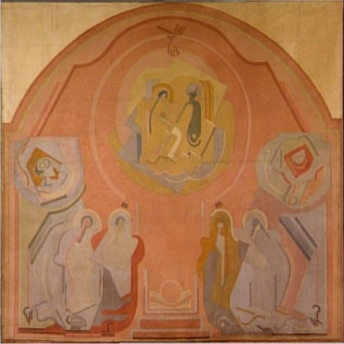 <em>Le Couronnement de la Vierge</em>, 1927<br /> Projet de décor pour l'église Sainte-Blanche de Serrières (Ardèche)<br /> Huile sur toile<br /> 229 x 229 cm<br /> Don de Juliette Roche-Gleizes, 1964 (inv. AM 4245 P)<br /><br /> En dépôt au musée des Beaux-Arts de Caen depuis 1998