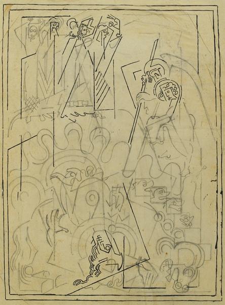 <em>Etude pour La Chute de Babylone</em>, vers 1939-1940<br /> Crayon et encre noire sur papier calque collé sur carton<br /> 46,3 x 35 cm<br /> Acquis en 1975 (inv. AM 1975-282)