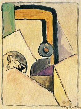 <em>Nature morte</em>, 1915<br /> Mine de plomb, encre brune et aquarelle sur papier<br /> 26,8 x 20,8 cm<br /> Acquis en 1975 (inv. AM 1975-278)