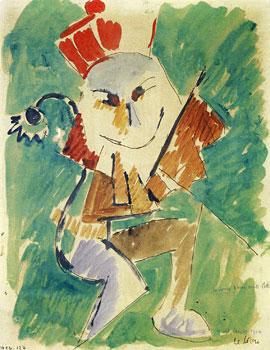 <em>Le Lion</em> <br /> Étude de costume pour Le Songe d'une nuit d'été, 1914<br /> Aquarelle, gouache et encre brune sur papier<br /> 27 x 21,1 cm<br /> Lyon, musée des Beaux-Arts<br /> Photo Alain Basset