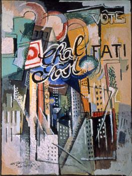 <em>Broadway (Chal Post)</em>, 1915<br /> Gouache et huile sur carton<br /> 101,8 x 76,5 cm<br /> Acquis de l'artiste, 1938 (inv. 38.478)