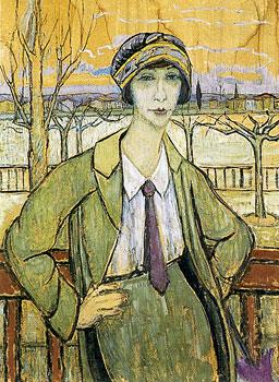 <em>Portrait de l'artiste à Serrières</em>, vers 1920<br /> Huile sur carton<br /> 106 x 78 cm<br /> Paris, Fondation Albert Gleizes