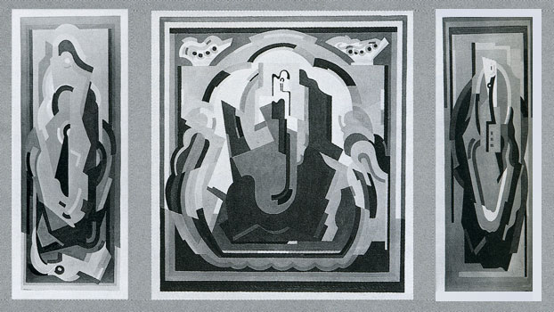 Albert Gleizes, <em>Triptyque provenant du décor de la chambre de Jacqueline Rosenberg</em>, vers 1931 <br /> (Centre Pompidou, musée national d'art moderne/cci, bibliothèque Kandinsky, fonds Rosenberg)