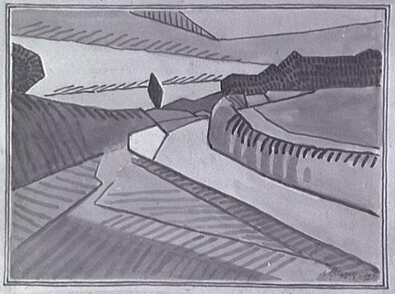 <em>Paysage</em>, 1910<br /> Crayon, lavis et encre brune sur papier gris<br /> 34,6 x 47,6 cm<br /> Acquis en 1975 (inv. AM 1975-284)