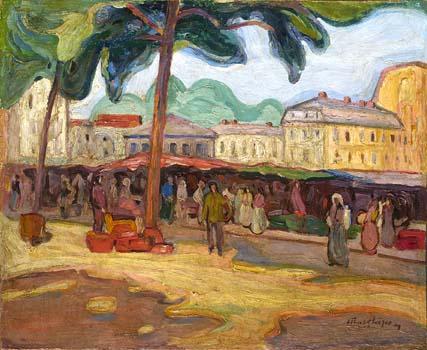 Jour de marché à Bagnères-de-Bigorre<em>, 1908<br /> </em>Huile sur toile<br /> 60 x 73 cm<br /> Lyon, musée des Beaux-Arts <br /> Photo Alain Basset<br />