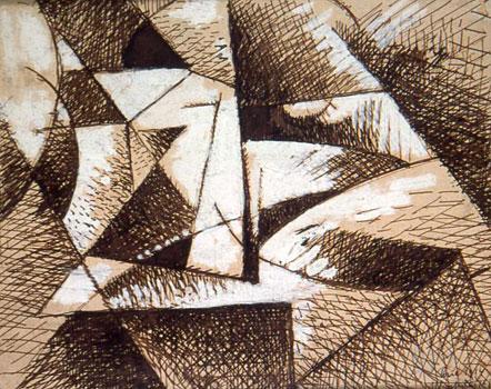 <em>Sans titre</em>, 1914<br /> Encre et rehauts de gouache sur papier collé sur carton<br /> 20 x 25 cm<br /> Collection particulière<br /> Photo Alain Basset