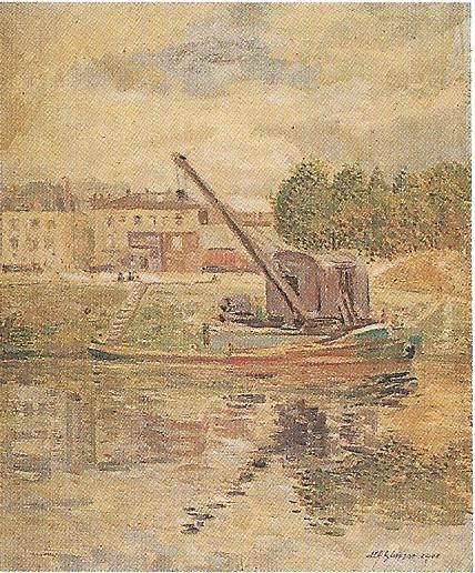 <em>Bord de rivière avec grue</em>, 1901<br /> Huile sur toile<br /> 46 x 38 cm<br /> Don Juliette Roche-Gleizes, 1967 (inv. 22.701)