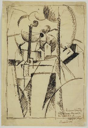 <em>Paysage aux cheminées à Toul</em>, 1914<br /> Encre sur papier<br /> 30,7 x 20,5 cm<br /> Gift of Mrs. Wolfgang Schoenborn, 1973 (inv. 608.1973)