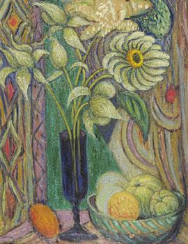 <em>Fleurs dans un verre,</em> vers 1920<br /> Huile sur carton<br /> 64,5 x 50 cm<br /> Lyon, musée des Beaux-Arts<br /> Don André Dubois, 1998<br /> Inv. 1999-17
