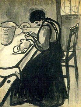 <em>Ménagère</em>, vers 1909<br /> Pinceau et encre noire sur papier<br /> 64,9 x 50 cm<br /> Don de Juliette Roche-Gleizes, 1954 (inv. 1954-141)