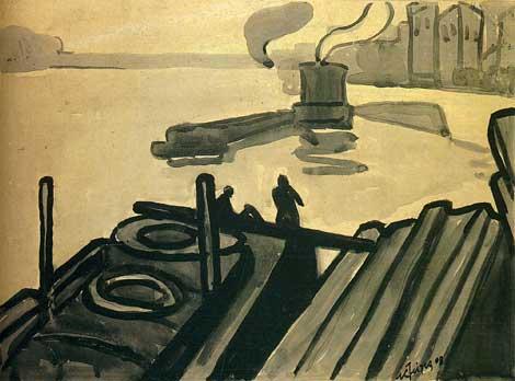 <em>Paris, les quais</em>, 1908<br /> Crayon et lavis d'encre noire sur carton<br /> 30,3 x 42 cm<br /> France, collection particulière