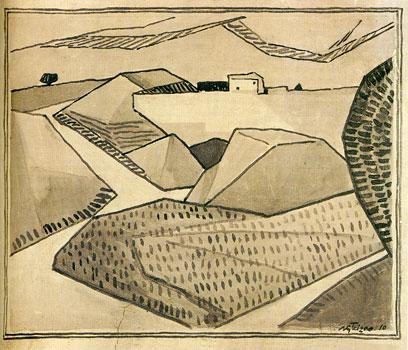 <em>Paysage</em>, 1910<br /> Crayon et lavis d'encre sur papier<br /> 34 x 42,2 cm<br /> Saint-Rémy-de-Provence, Espace Van Gogh