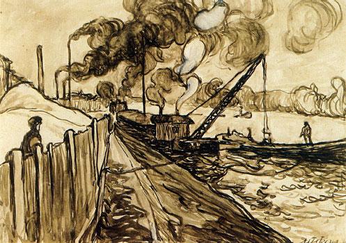 <em>Péniches et fumées à Courbevoie</em>, 1908<br /> Crayon, lavis d'encre brune rehaussée de gouache blanche sur papier collé sur carton<br /> 23 x 32,5 cm<br /> Paris, Fondation Albert Gleizes