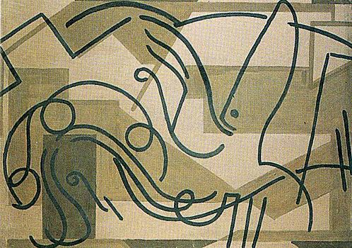 VII. <em>Jésus tombe pour la deuxième fois</em>, 1951<br /> Gouache sur carton<br /> 77 x 106,8 cm<br /> Don de Juliette Roche-Gleizes, 1954 (inv. 1954-147)