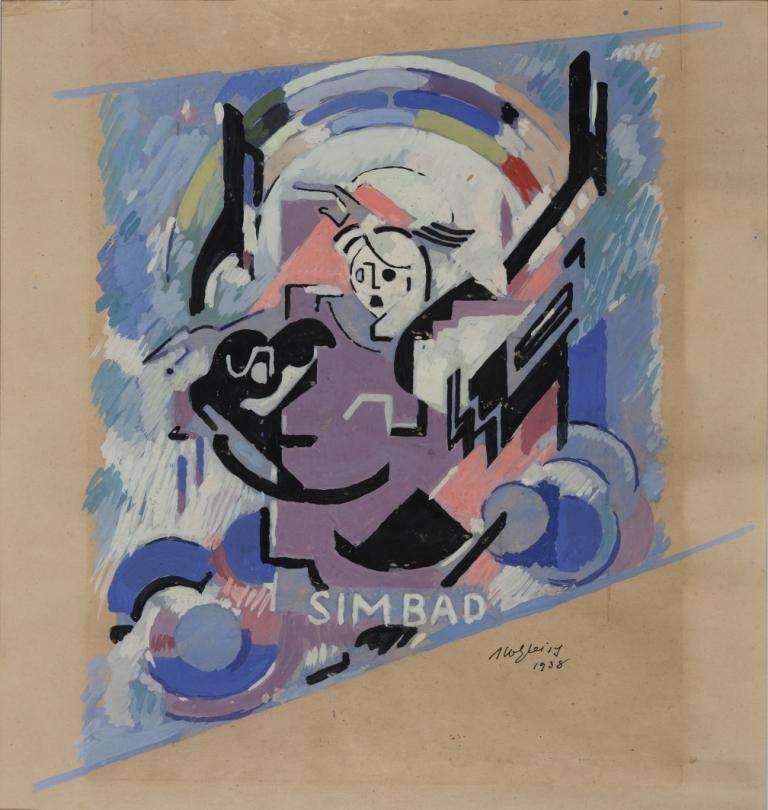 <em>Etude pour Simbad</em>, 1938<br /> Gouache sur papier<br /> 60 x 47,5 cm<br /> Acquis en 2000 (inv. 2000.11)