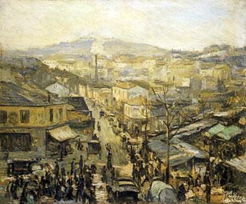 <em>Jour de marché en banlieue (Courbevoie)</em>, 1905<br /> Huile sur toile<br /> 54 x 65 cm<br /> Don de Juliette Roche-Gleizes, 1954 (inv. 1954-117)