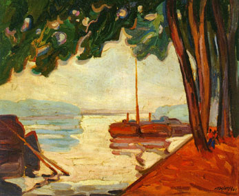 <em>Péniches sur la Seine</em>, 1908<br /> Huile sur toile<br /> 54 x 65 cm<br /> Acquis en 1990 (inv. 90.9.22)