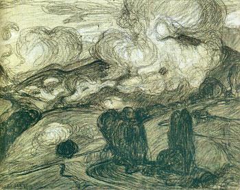 <em>Nuages bas dans la montagne (Bagnères-de-Bigorre),</em> 1908<br /> Fusain et craie sur papier gris collé en plein<br /> 24,3 x 30,7 cm<br /> Acquis en 1975 (inv. AM 1975-279)