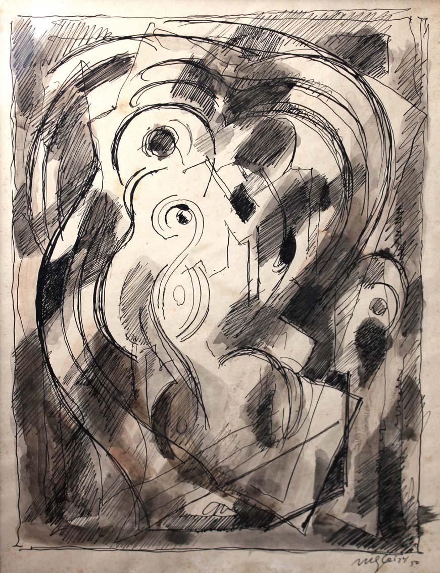 <em>Composition</em>, 1950<br /> Encre et lavis sur papier<br /> 27 x 19,5 cm<br /> Acquis en 1987 (inv. D.1987.2)