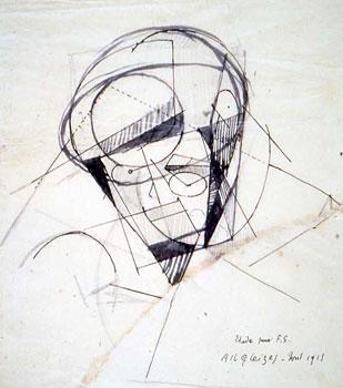 <em>Etude pour le portrait de Florent Schmitt</em>, 1915<br /> Mine de plomb, encre noire et lavis sur papier calque<br /> 25,5 x 22,5 cm<br /> Acquis en 1976 (inv. AM 1976-1038)