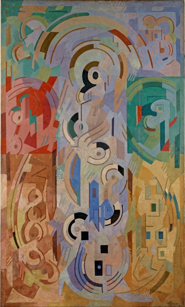 <em>Composition à sept éléments</em>, 1943 <br /> Huile sur toile<br /> 300 x 178 cm<br /> Donation Paul et Muguette Dini, 2000 (inv. 2000.1.11)<br /> Photo Didier Michalet