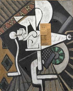 <em>Nature morte au hachoir</em>, 1915<br /> Huile et papier collé sur toile<br /> 53 x 43,5 cm<br /> Paris, Fondation Albert Gleizes