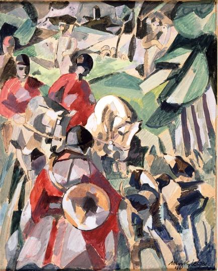 <em>Etude pour La Chasse</em>, 1911<br /> Mine graphite, aquarelle, gouache et lavis d'encre sur papiersur papier<br /> 20,2 x 16,2 cm<br /> Legs Robert Le Masle, 1974 (inv. AM 1974-173)