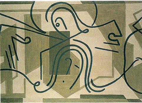 VI. <em>Une femme pieuse essuie la face de Jésus</em>, 1951<br /> Gouache sur carton<br /> 77 x 106,8 cm<br /> Don de Juliette Roche-Gleizes, 1954 (inv. 1954-143)