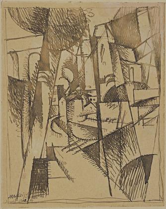 <em>Paysage de Courbevoie</em>, 1912<br /> Encre sur papier<br /> 17 x 13,8 cm<br /> The Joan and Lester Avnet Collection, 1978 (inv. 87.1978)