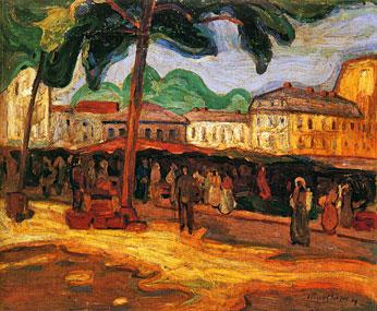<em>Marché à Bagnères-de-Bigorre</em>, 1908<br /> Huile sur toile marouflée sur isorel<br /> 58,5 x 72 cm<br /> Legs André Dubois, 2004 (inv. 2005-12)