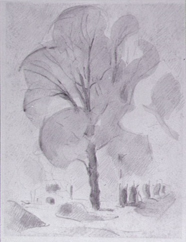 <em>Le Jardin des Méjades</em>, vers 1940-1943<br /> Crayon et rehauts de lavis gris sur papier<br /> 32,5 x 25 cm<br /> Acquis en 1975 (inv. AM 1975-269)
