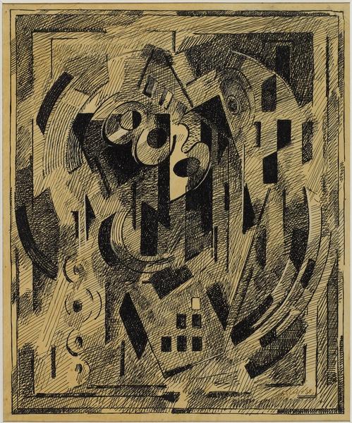<em>Pour l'esprit, Les Verts,</em> 1938<br /> Encre noire sur papier calque collé sur carton<br /> 31,5 x 28,5 cm<br /> Acquis en 1975 (inv. AM 1975-268)