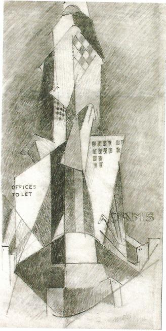 <em>Sur le Flat-Iron</em>, 1916<br /> Encre et fusain sur papier<br /> 37,5 x 19 cm<br /> Acquis en 2008 (inv. MNB 2008.1.1)