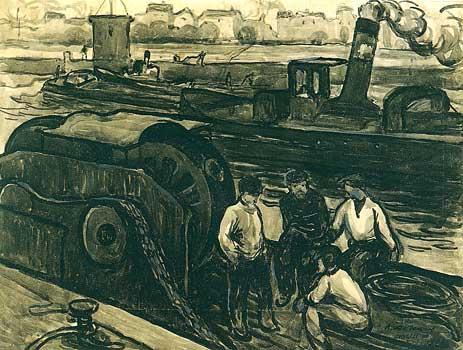 <em>L'Ecluse de Suresnes</em>, 1908<br /> Crayon, lavis d'encre noire rehaussée de gouache grise sur carton<br /> 31,1 x 41 cm<br /> Suresnes, musée d'Histoire urbaine et sociale