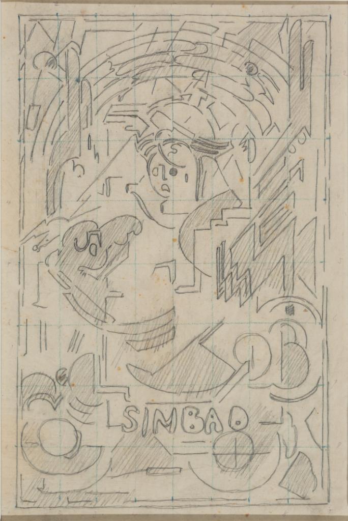 <em>Etude pour Simbad</em>, vers 1937<br /> Mine de plomb sur calque<br /> 36,6 x 24,7 cm<br /> Acquis en 2000 (inv. 2000.10)
