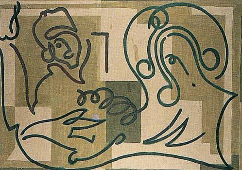 I. <em>Au prétoire. Jésus est condamné à mort</em>, 1951<br /> Gouache sur carton<br /> 77 x 106,8 cm<br /> Don de Juliette Roche-Gleizes, 1954 (inv. 1954-148)