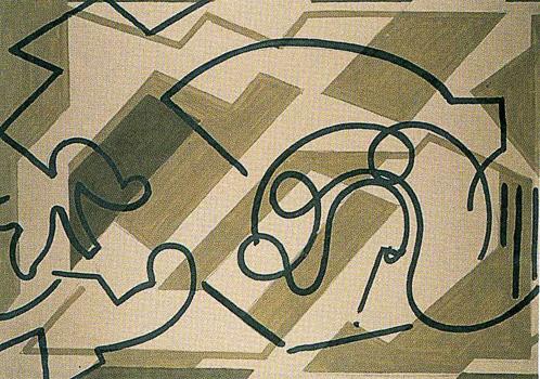III. <em>Jésus tombe pour la première fois</em>, 1951<br /> Gouache sur carton<br /> 77 x 106,8 cm<br /> Don de Juliette Roche-Gleizes, 1954 (inv. 1954-146)